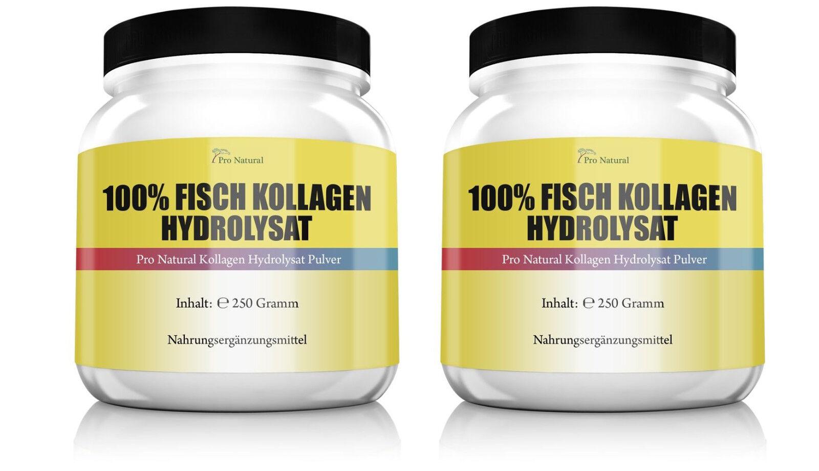 2x Pro Natural 100% Fisch Kollagen Hydrolysat Pulver 500g Haut Gelenke & Knorpel