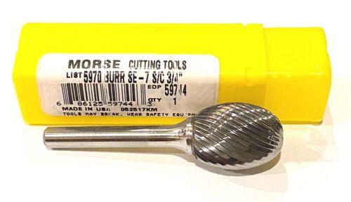 "Morse SE-7 3/4"" Carbide Burr Oval Shape Single Cut 1/4"" Shank USA Made 59744"