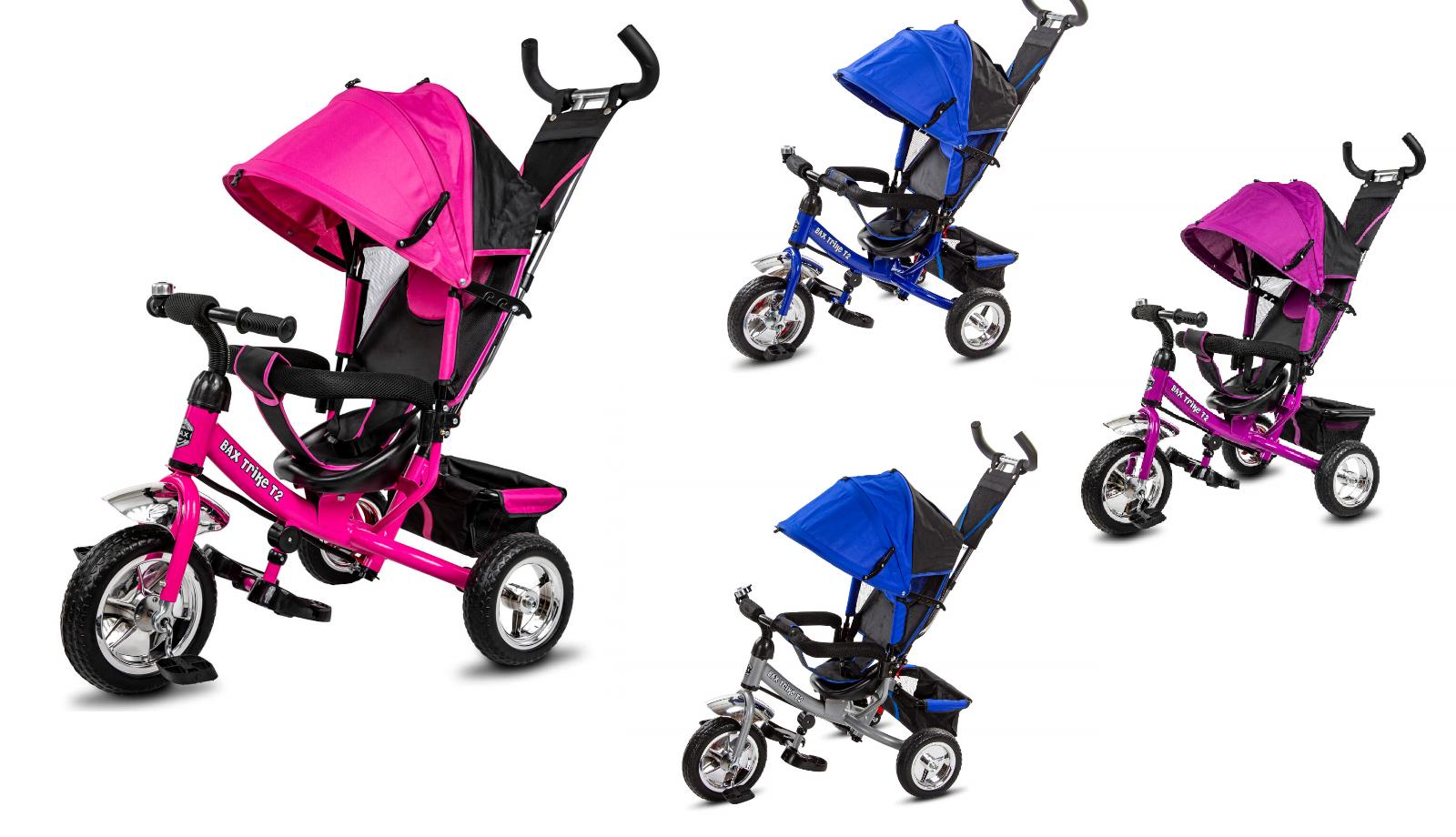 Dreirad Trike BAX T2 mit Schiebe- und Lenkstange Kinderdreirad Sonnendach Baby