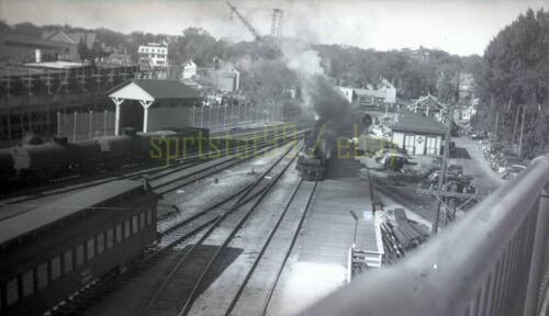 MEC Maine Central Rail Yard / Locomotive - c1940s - Vintage Railroad Negative