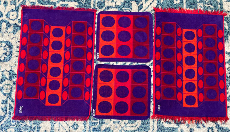 YSL Yves Saint Laurent 2 Hand Towels 2 Washcloths Geometric Purple Red Orange