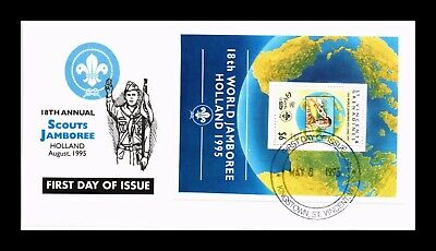 DR JIM STAMPS SCOUTS JAMBOREE SOUVENIR SHEET FIRST DAY ISSUE MONARCH SIZE COVER
