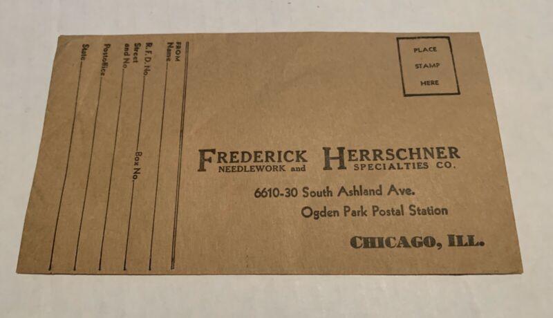 1900 Advertising Ordering Envelope Frederick Herrschner Needlework-Chicago NM