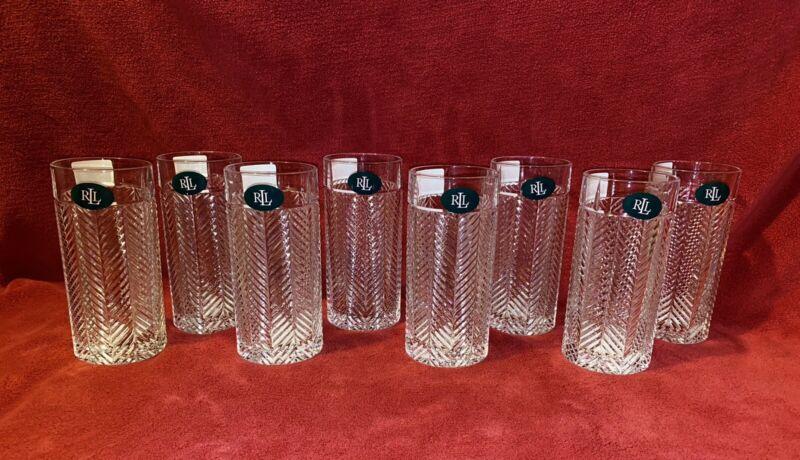 Ralph Lauren Herringbone 8 Highball Glasses NWT made in Germany Glen Plaid