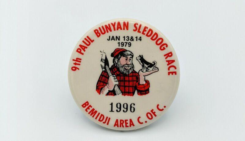Vintage Paul Bunyan 9th Sled Dog Races Bemidji Minnesota Pinback Button 1979
