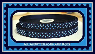 5/8 INCH NAVY AND LIGHT BLUE GROSGRAIN POLKA DOT RIBBON- 1 YARD Light Navy Ribbon