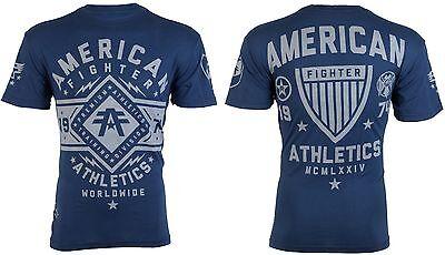 Usn Fighter - AMERICAN FIGHTER Mens T-Shirt SANTA CLARA Athletic NAVY BLUE Biker Gym UFC $40