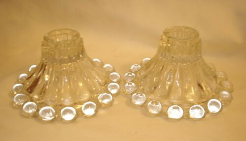 Anchor Hocking Boopie Glass 1950s Clear Candlestick Holders No Defects CLEAN