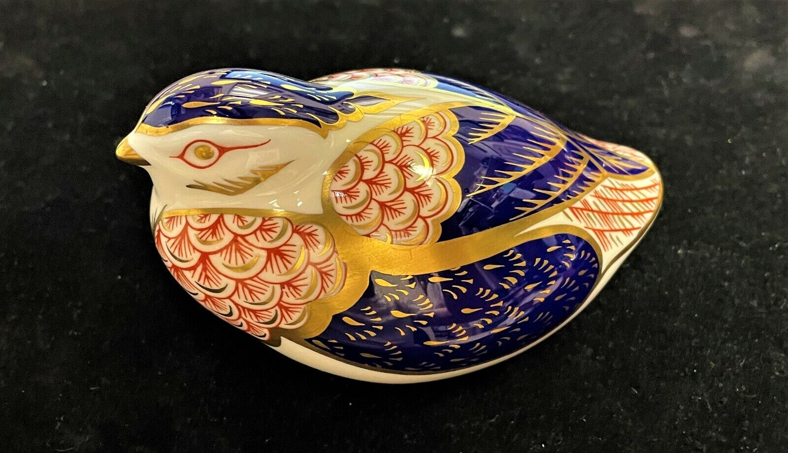 Royal Crown Derby Porcelain Desk Paper Weight Early Imari Quail Gold Stopper - $29.99