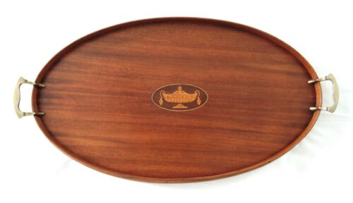 """MANNING BOWMAN & CO Mahogany Quality Wood Serving Tray Brass Handles Urn 24.5"""""""