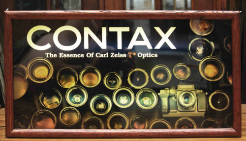 VINTAGE CONTAX ESSENCE OF ZEISS CAMERA STORE DISPLAY LIGHTED SIGN ADVERTISING