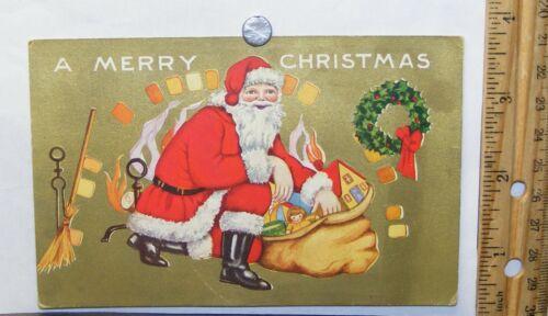 Unused 1930s unused Santa Claus at fireplace Christmas postcard; Whitney Made