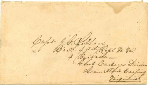 5c Stamps Confederate States Letter Captain 49th Regiment Conf. Army Virginia