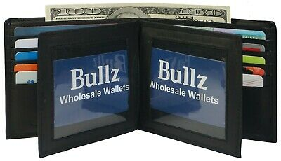 Genuine Leather Mens Bifold 2 ID's multi Card Double Flap Popular Wallet (Hipster Mens Wallet)