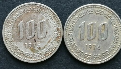 1974 ,75 ( 2 ) PIECES OF SOUTH KOREAN 100 WON  COIN