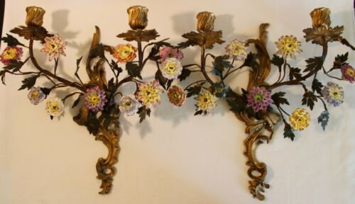 RARE & BEAUTIFUL PAIR ORMOLU PORCELAIN FLOWER SCONCES ANTIQUE