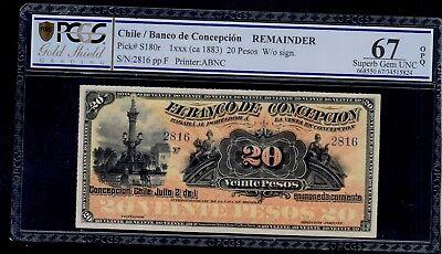Chile  20  Pesos    1883   Banco De Concepcion  Pick   S180r Pcgs 67 Gem Unc Opq