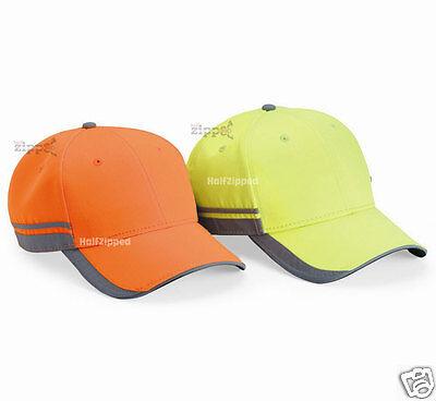 Outdoor Cap Reflective Baseball Hat Structured Safety Orange Or Lime Saf201