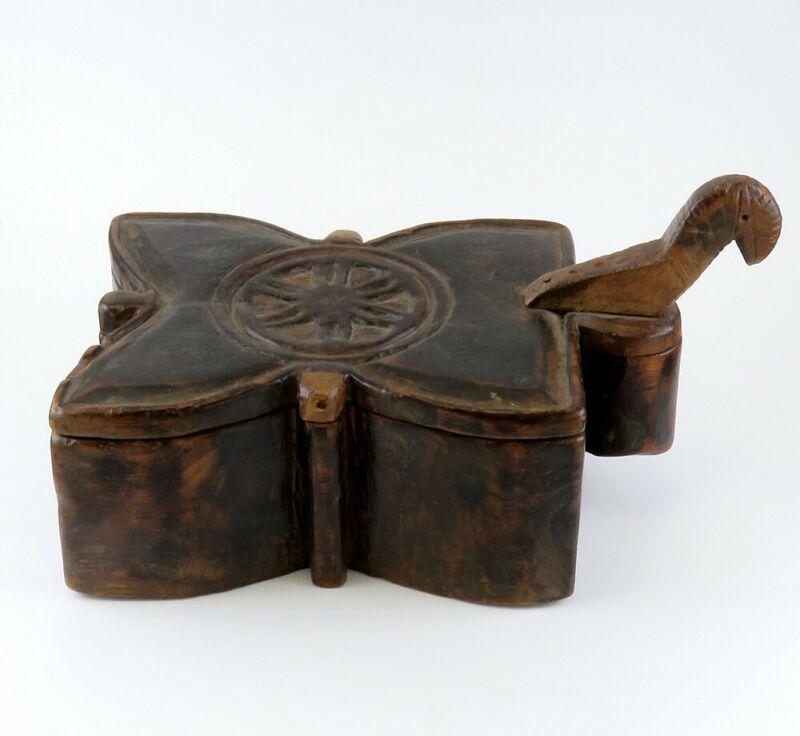 1700s-1800s Norwegian Hand Carved Folk Art Wooden Spice Box