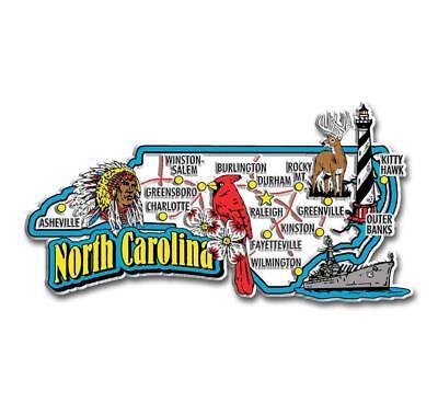 (North Carolina Jumbo State Map Fridge Magnet)