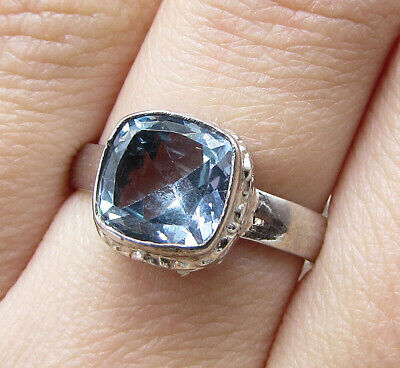 925 Silver over Brass - Faceted Blue Topaz Solitaire Ring Sz 7.5 - RG1269