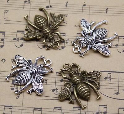 Lot 4 ~ 50pcs Retro Cute Bee Alloy Charm Pendants Jewelry Making DIY 27*27mm - Bee Charms