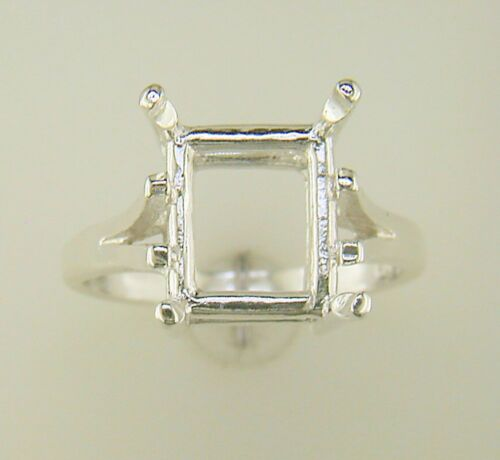 Emerald Cut Cathedral Shank Solitaire Ring Setting Sterling Silver