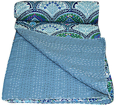 Queen Size Rambo Kantha Quilt Indian Reversible Bedspread Bedding Throw Blanket for sale  Shipping to India