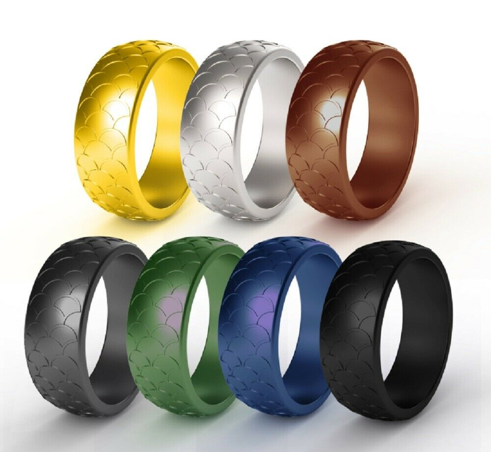 7 Pack Silicone Wedding Engagement Ring Men Women Rubber Band Gym Sports US Bands without Stones