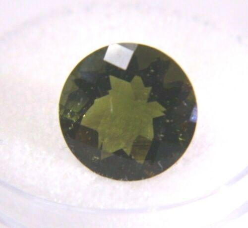 Moldavite Round Checkerboard Cut Top 3.56CT 11x7mm Natural Loose Gemstone  NEW