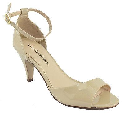 City Classified Women Ankle Strap Heels Open Toe Beige Nude Dress Sandals Tupper