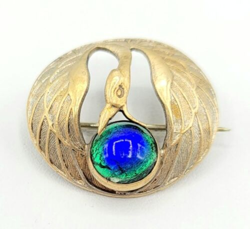 Nouveau Plated Brass Peacock Glass Cab Bird C Clasp Brooch Pin