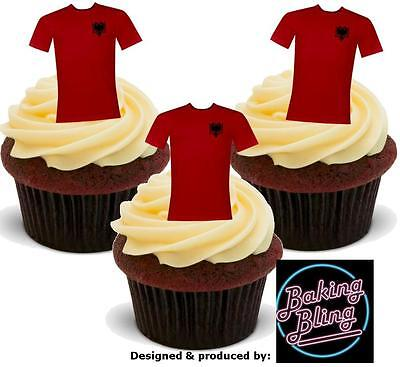 12 Novelty EURO 2016 ALBANIA Football Shirt Edible Cake Toppers Decoration Bake image