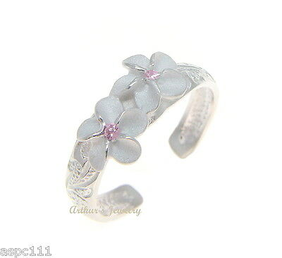 STERLING SILVER 925 HAWAIIAN 2 PLUMERIA FLOWER SCROLL TOE RING PINK CZ