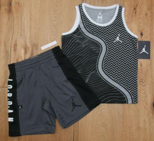 Air Jordan Boy Tank Top & Shorts Set ~ Black, Gray & White ~