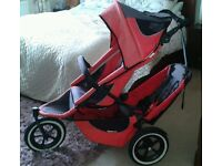 Phil and Teds Sport V2 Double 3 Wheel Buggy With Rain Cover & Elbows