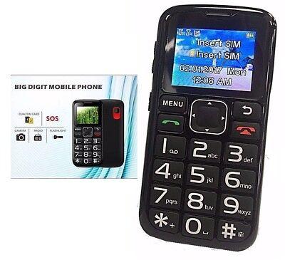 Camera Mobile Cell Phone For Senior Citizen Big Dial Buttons SOS Function Unlock