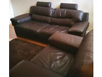 DFS Brown 3 seater leather sofa and chair