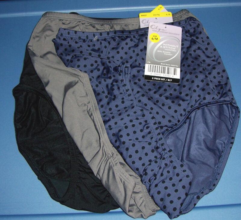Olga Women's Without A Stitch Nylon Microfiber Black Blue 3 Brief Panty Size 6 M