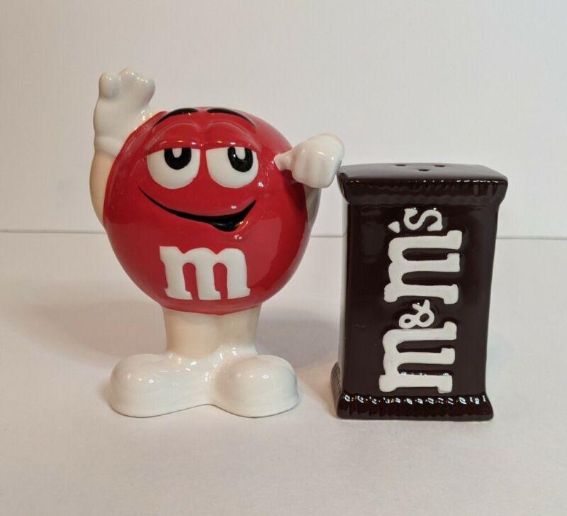 "M&M Candy Ceramic Salt & Pepper Shakers Red Peanut Guy & Chocolate Bag 4"" Tall"