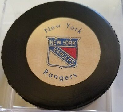 Vintage 1970's New York Rangers Hockey Puck Rawlings Canada RUBBERIZED LOGOS NHL