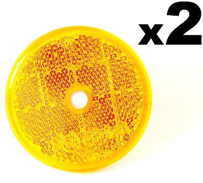 2 E-Approved 50mm Round Circular Reflectors Amber / Orange Trailer Marker Post