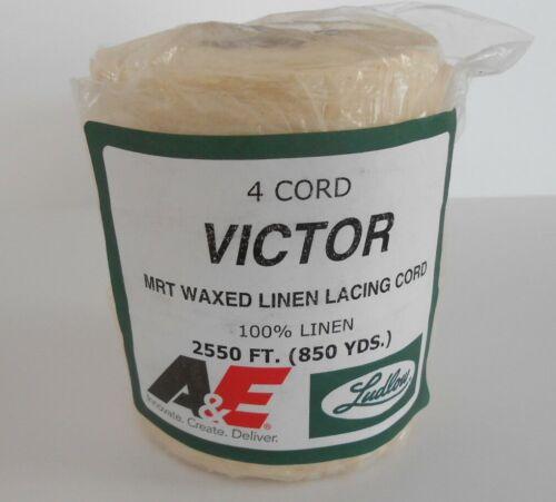 Waxed LINEN lacing thread 4-cord rug braiding weaving twine Victor 1# roll 850yd
