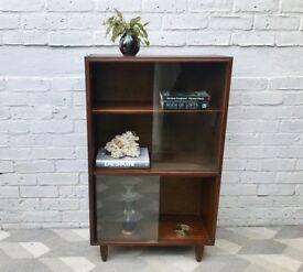 Vintage Bookshelf Cabinet Glass Wood #699
