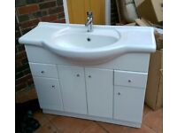 Vanity unit, sink and chrome tap - large, white and in good condition