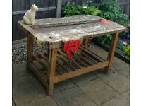 Vintage school woodwork bench. Domestic or commercial table,display,storage etc