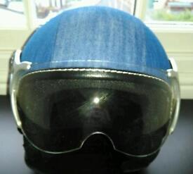 Denim motorcycle helmet x6 display only