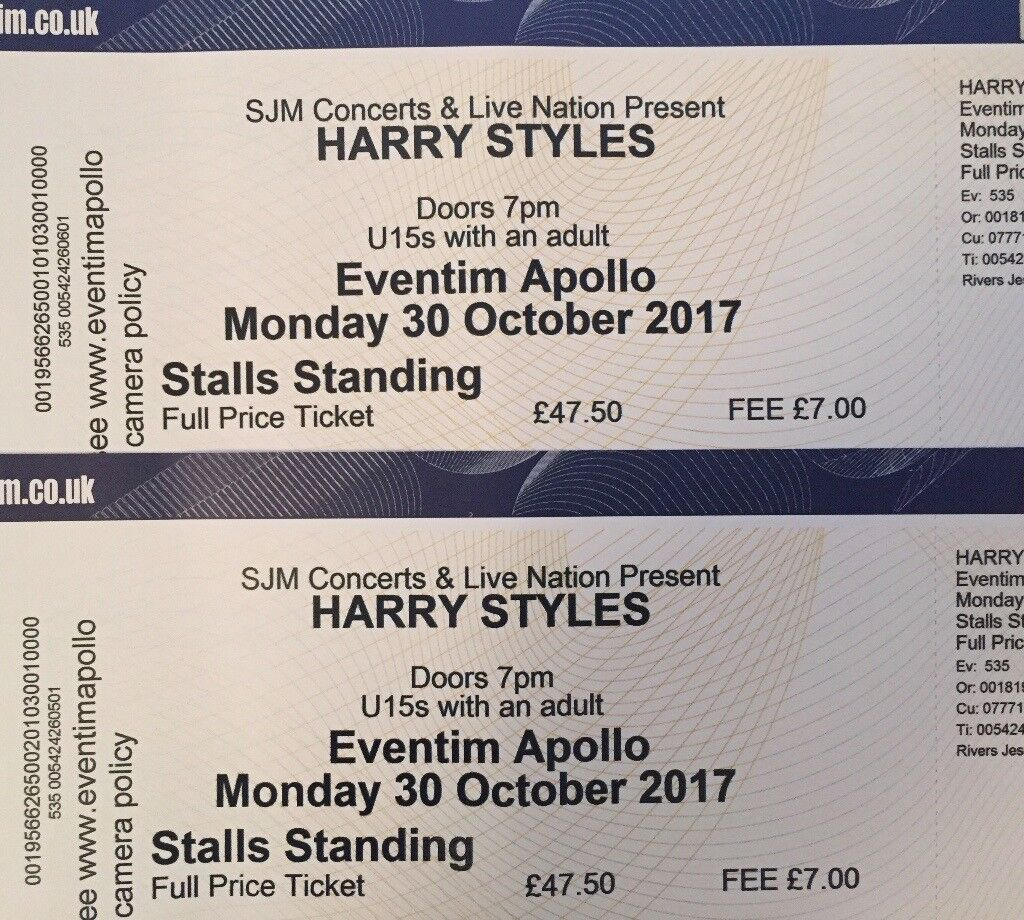 Harry Styles Tickets Monday 30th October 2017 In Victoria Park