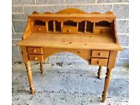Waxed antique pine writing bureau £85