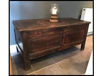 Antique stained pine 18th century panelled Coffer